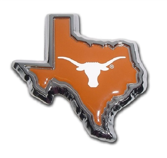 Texas Longhorns State Shape Orange Premium Metal Auto Emblem Decal