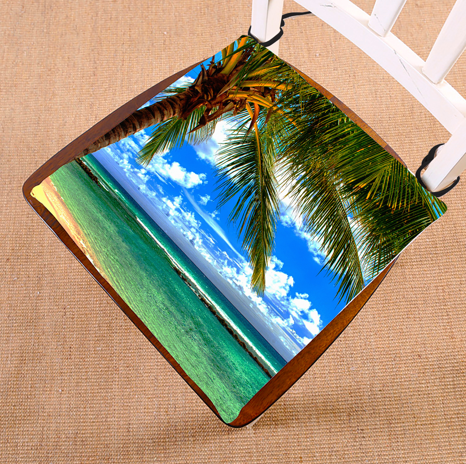GCKG Beach Palm tree Chair Pad Seat Cushion Chair Cushion Floor Cushion with Breathable Memory Inner Cushion and Ties Two Sides Printing 16x16 inches