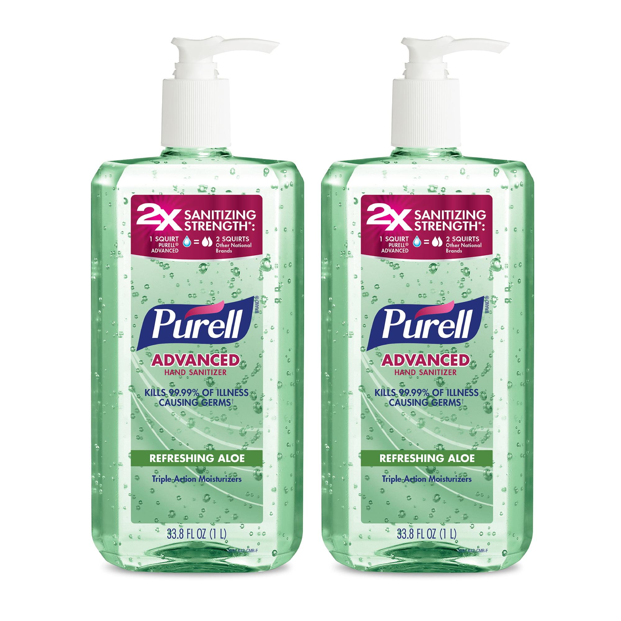 (Pack of 2) PURELL® Advanced Hand Sanitizer Aloe Gel, 1 L Pump
