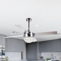"48"" Crystal Ceiling Fan with LED Lights Remote Control Contemporary Chandelier Fan Reversible 4 Blades F6208, Chrome"