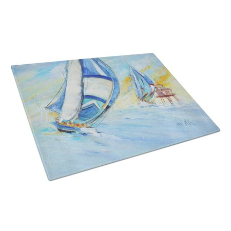 - Caroline's Treasures Sailboats and Middle Bay Lighthouse Glass Cutting Board Large
