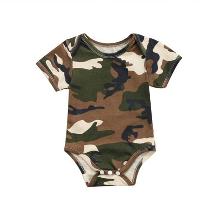 Cute Newborn Clothing New Baby Boys Girls Camo Short Sleeve Romper Jumpsuit Casual Clothes Outfit 0-2T