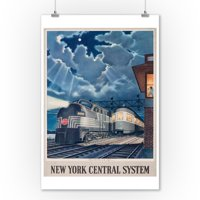 New York Central System - Trains That Pass in the Night - (artist: Gascon c. 1948) - Vintage Advertisement (9x12 Art Print, Wall Decor Travel Poster)