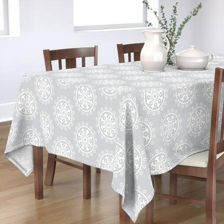 Image of Tablecloth Mod Baby Suzani Monochrome Nursery Grey Cotton Sateen
