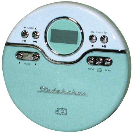 Studebaker Sb3703mw Personal Jogging Cd Player With Fm Pll Radio (mint Green/white)
