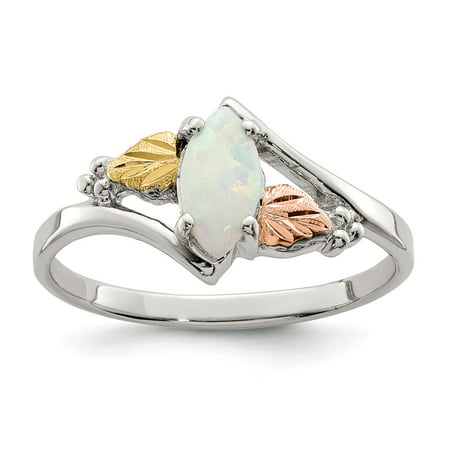 Black Hills Gold Sterling Silver Ring - Landstrom's Black Hills Sterling Silver and 12K Gold Accent Created Opal Ring, Size 8