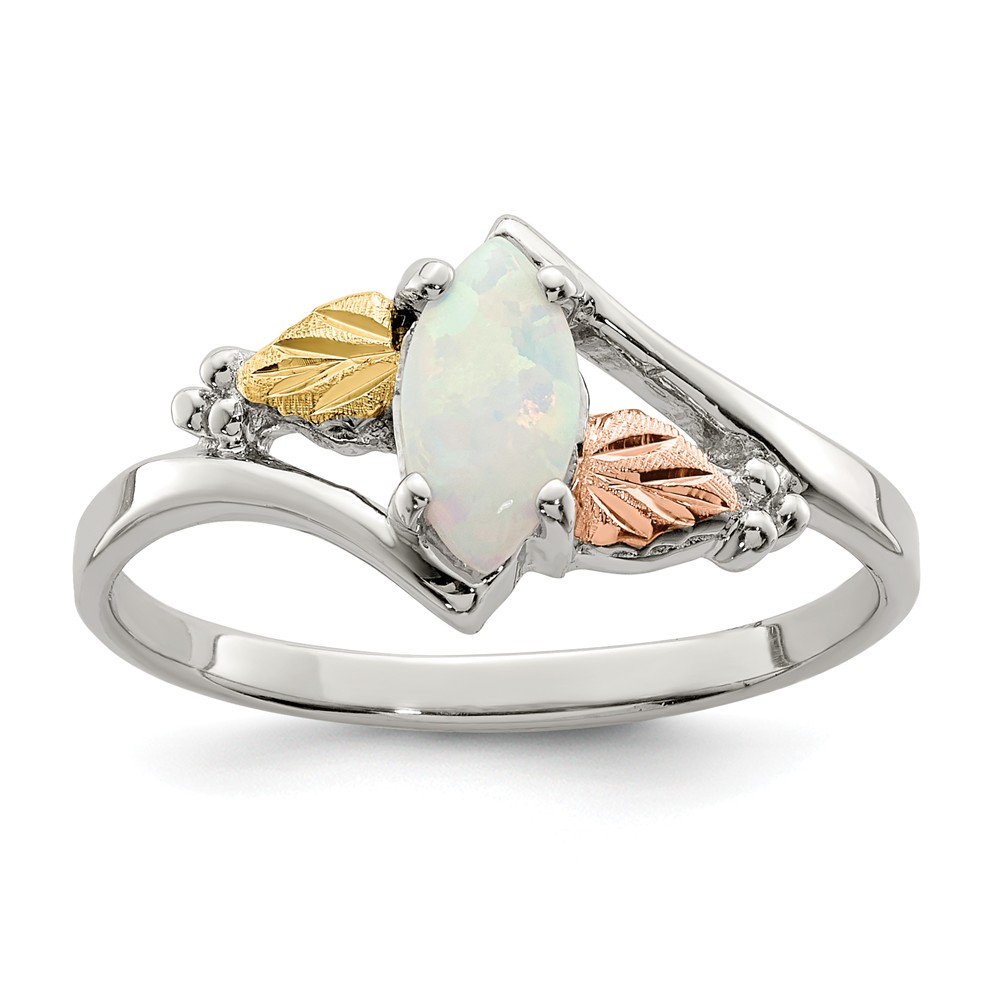 925 Sterling Silver Opal Ring Size 6 by Diamond2deal