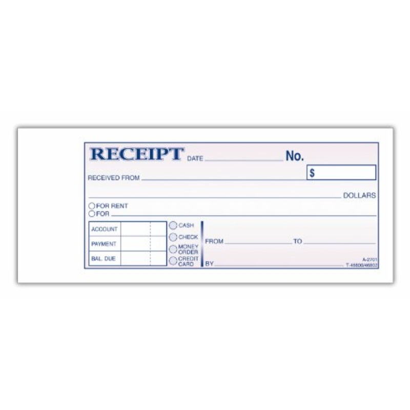 Adams Money and Rent Receipt Book, 2-Part, Carbonless, 2.75 x 7.19 Inch, 50 Sets, White and Canary (DC2701) by Adams
