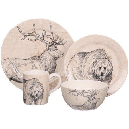 English Ironstone Tableware - Mainstays™ 16-Piece Ironstone Animal Dinnerware Set Box