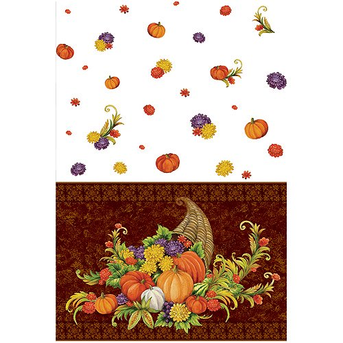 Thanksgiving Decorations Walmart : Plastic horn of plenty thanksgiving table cover walmart