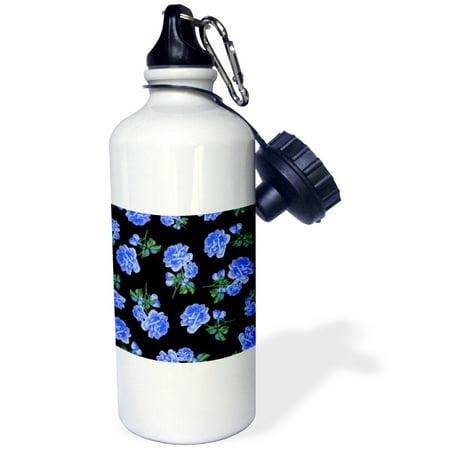 3dRose Elegant and Stylish Dark Blue Roses Floral Pattern on Sleek classy Black, Sports Water Bottle, 21oz