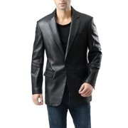 BGSD Men's Nicholas 1-Button Lambskin Leather Blazer (Regular & Tall)