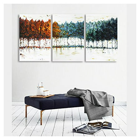 wall26 - 3 Piece Canvas Wall Art -Abstract Colorful Trees - Watercolor Painting Style Modern Home Decor - 16