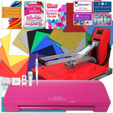 Pink Rose Cameo (Silhouette Pink Cameo 3 Bluetooth Heat Press T-Shirt Business Bundle with Heat Press, Guides and)