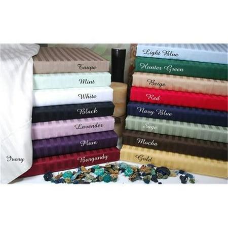 300 Thread Count Split King Sheet Set Egyptian Cotton Stripe-Mocha