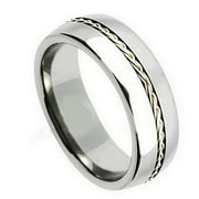 Free Personalized laser engraving Titanium Band Rings 8mm Titanium Ring Grooved with Braided Sterling Silver Inlay