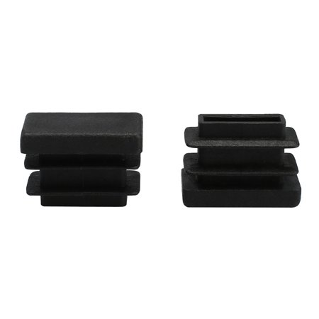 10 x 20mm Plastic Rectangle Ribbed Tube Inserts End Cover Cap Chair Feet 2pcs - image 7 of 7