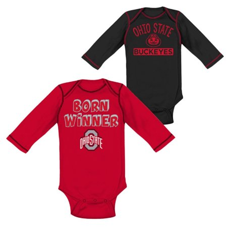 Infant Scarlet/Black Ohio State Buckeyes Team Two-Piece Long Sleeve Bodysuit Set - Ohio State Baby Clothes