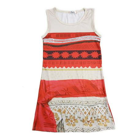 Wenchoice Girls Orange Tan Moana Inspired Print Sleeveless Dress](Flapper Girl Inspired Dresses)
