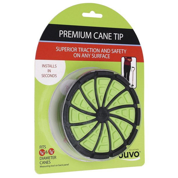 Products Premium Cane Tip with Extra Wide Base, Fits 3/4? or 7/8? Diameter Canes, Green/Black (SCT01), Patented dual-polymer Premium Cane Tip with Extra Wide Base By Juvo