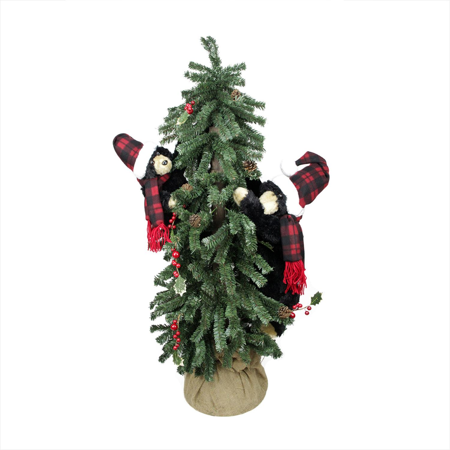 4' Country Rustic Artificial Alpine Christmas Tree in Burlap Sack ...