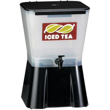 Slimline Beverage - TableCraft Slimline Uninsulated Square Beverage Dispenser White/Black, 3 gal., 10.625