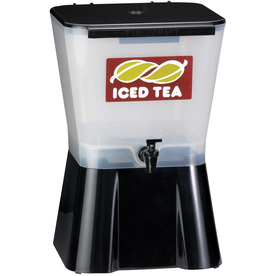 "TableCraft Slimline Uninsulated Square Beverage Dispenser White/Black, 3 gal., 10.625"" Length x 10.75"" Width x 16.75"""