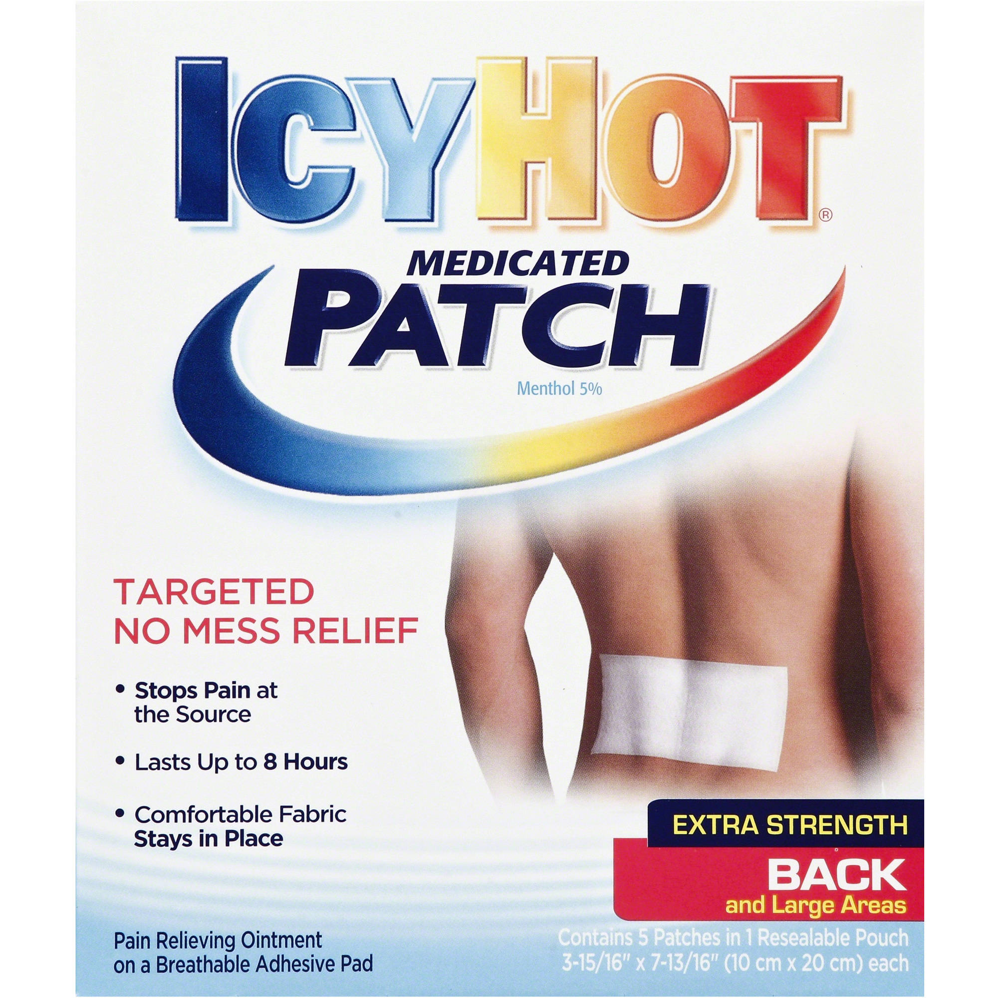Icy Hot Extra Strength Back & Large Areas Medicated Patch, 5 count