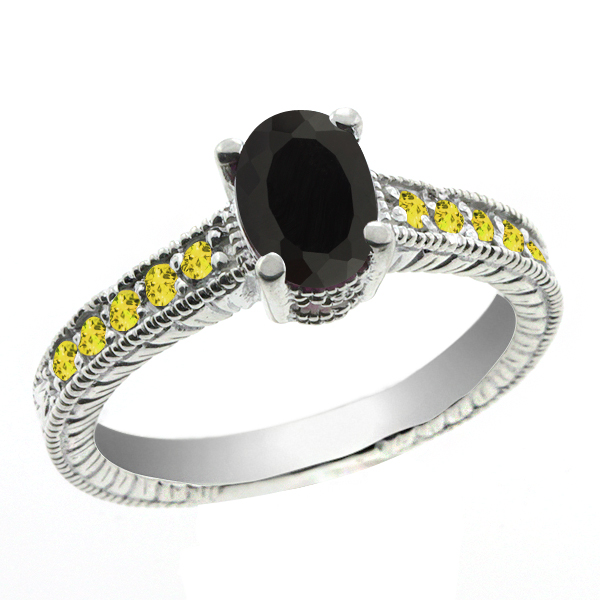 1.18 Ct Oval Black Onyx Yellow Sapphire 14K White Gold Ring
