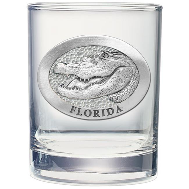 Heritage Metalworks DOF4267 Alligator with Florida Double Old Fashioned Glass