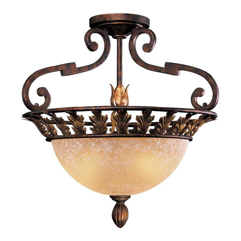 Metropolitan Lighting Metropolitan N6241-355 3 Light Zaragoza Semi Flush Ceiling Light, Golden Bronze