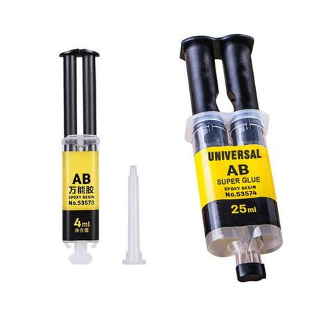 4ML/25ML Universal AB Super Glue Epoxy Resin Liquid Glue Strong Adhesive Household Repair Glue For Metal, Ceramics, Plastic, Glass, Rubber, Leather, Wood (Leather Sofa Glue)