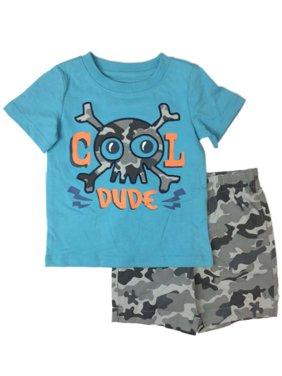 443ae7838 Product Image Toddler Boys Cool Dude Outfit Skull & Crossbones Shirt & Camo  Shorts Set