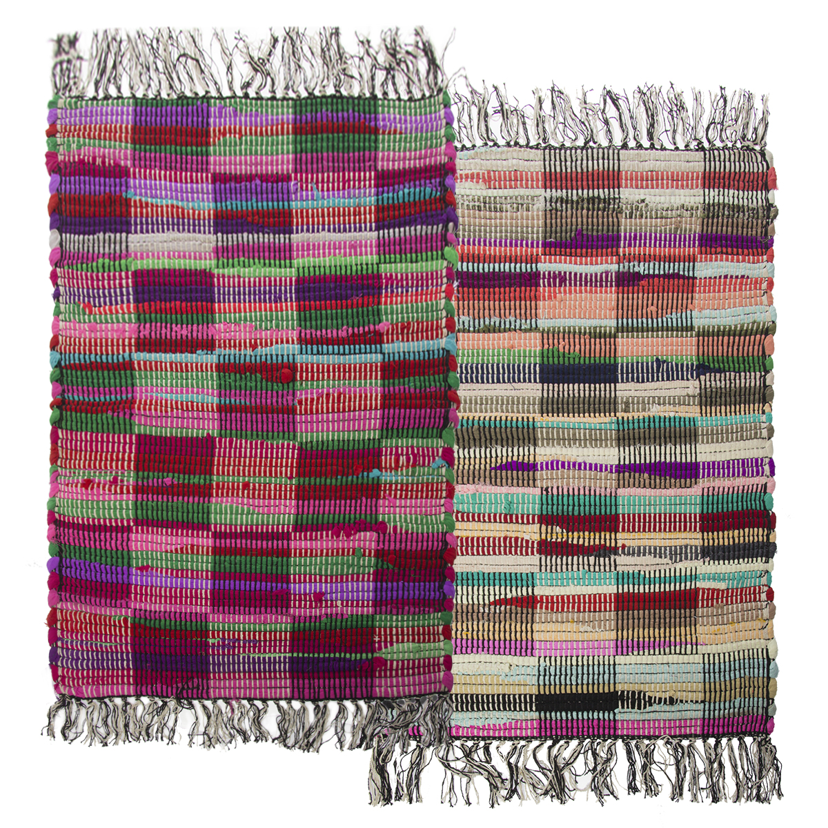 "Simply Genius (2 Pack) Checkered 20""x32"" Chindi Rag Rugs – Colorful Recycled Fabric Durable Decor"