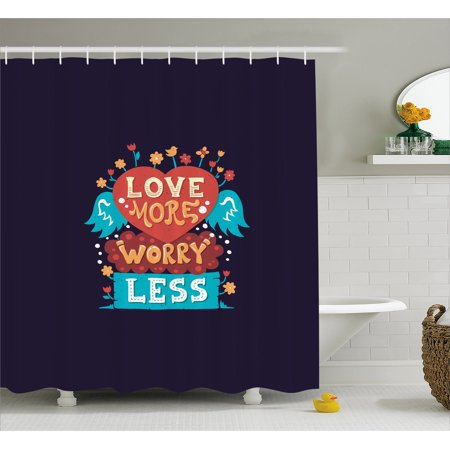 Love Shower Curtain, Love More Worry Less Heart Shape with Blooming Flowers Cute Bird and Angelic Wings, Fabric Bathroom Set with Hooks, 69W X 70L Inches, Multicolor, by Ambesonne ()