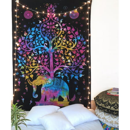 Multicolor Tie Dye Tree Of Life Elephant Tapestry Indian Hippie