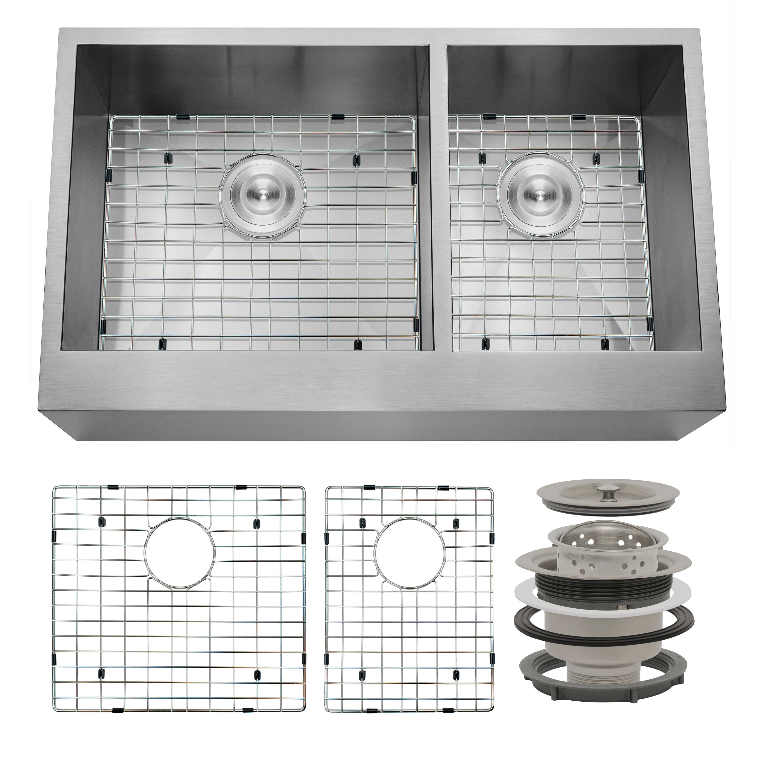 "Image of AKDY 33"" x 20"" x 9"" Apron Farmhouse Handmade Bowls Stainless Steel Kitchen Sink Grid"