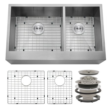 """Image of AKDY 33"""" x 20"""" x 9"""" Apron Farmhouse Handmade Bowls Stainless Steel Kitchen Sink Grid"""