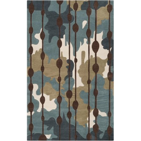 5 X 7 5 Opulence Ikat Teal And Chocolate Brown Hand Tufted Area