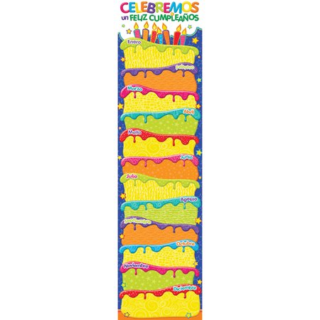 COLOR MY WORLD SPANISH BIRTHDAY BANNERS VERTICAL (Vertical Birthday Banners)