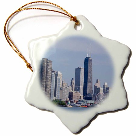 3dRose Illinois, Chicago, Lake Michigan view the Chicago city skyline,, Snowflake Ornament, Porcelain, 3-inch