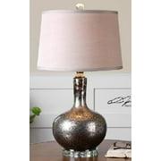 "27"" Mottled Silver & Black Mercury Glass Decorative Table Lamp"
