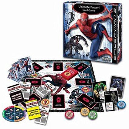 Spiderman 3 Ultimate Power Game, Contains 8 villain cards, 22 power up cards, 18 daily Bugle, 4 Spider-Man chips, card game board, spinner By Briarpatch - Spiderman Villains