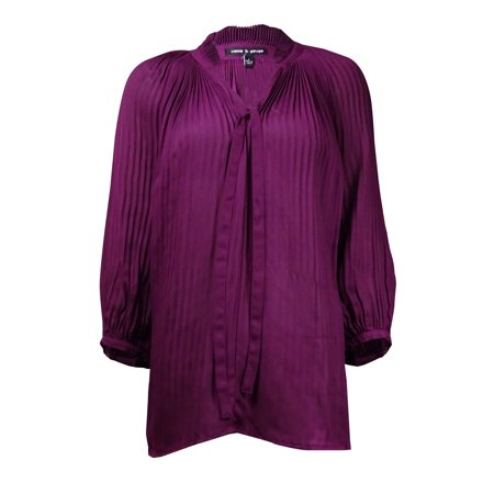 Cable Womens Tie (Cable & Gauge Women's Pleated Neck-Tie Crepe Top )