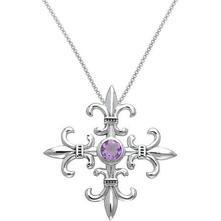 Fleur De Lis Chain Pendant (Sterling Silver and Amethyst Croix La Me'Re Fleur De Lis Pendant on 18 Inch Box Chain Necklace )