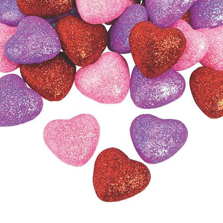 GLITTER VALENTINE FOAM HEARTS (48PC) - Craft Supplies - 48 Pieces Valentine Foam Crafts