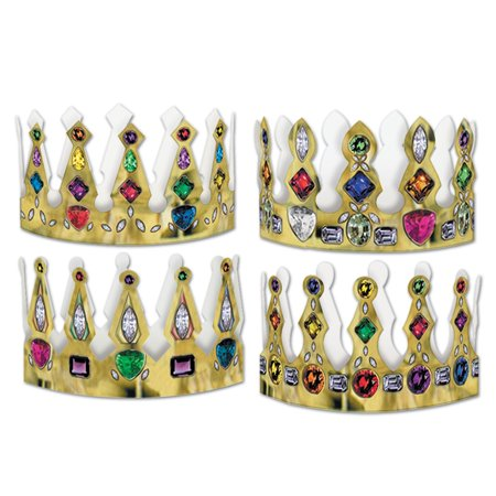 Club Pack of 96 Medieval Mardi Gras Jeweled Crown Party Favors - Crown Party Favors