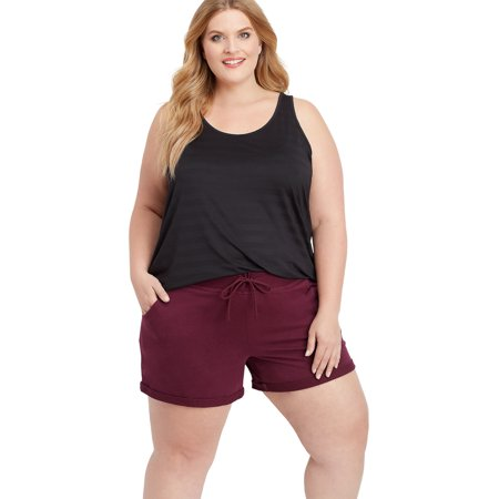 Plus Size Berry Wine Rolled Cuff 5In French Terry Short