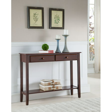 Occasional Storage - Noah Walnut Wood Contemporary Occasional Entryway Console Sofa Table With Storage Drawers & Shelf