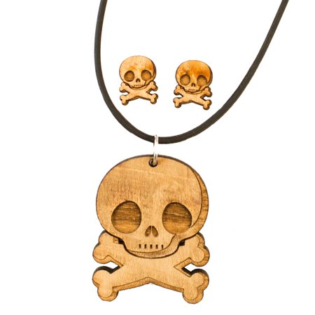 Jewelry Set - Cute Skull and Crossbones - Raw Wood